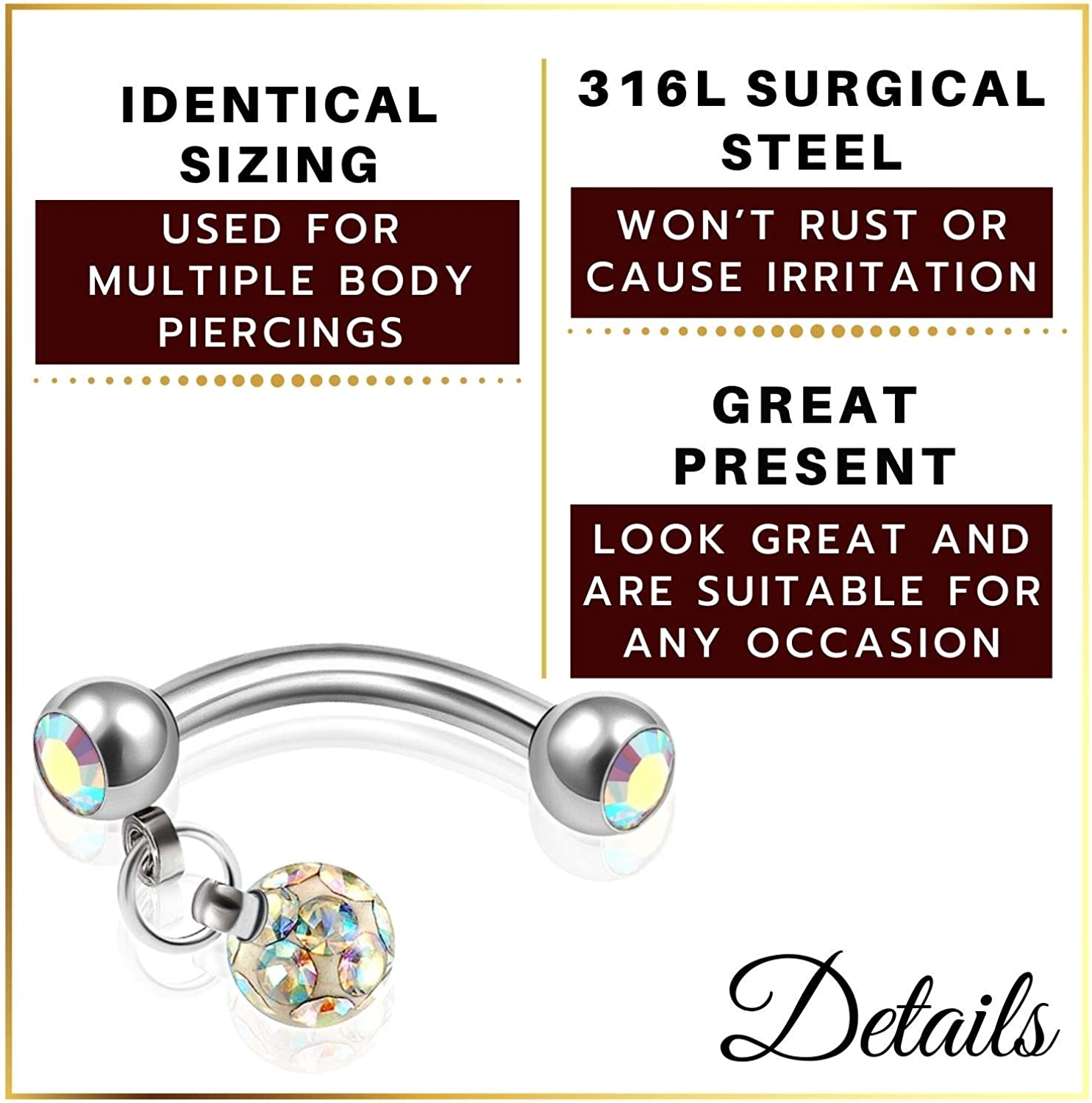 MATIGA Surgical Steel 16g 5/16 8mm Curved Barbell bar Piercing Jewelry Two 3mm Crystal and 4mm Dangling ferido Ball More Choices