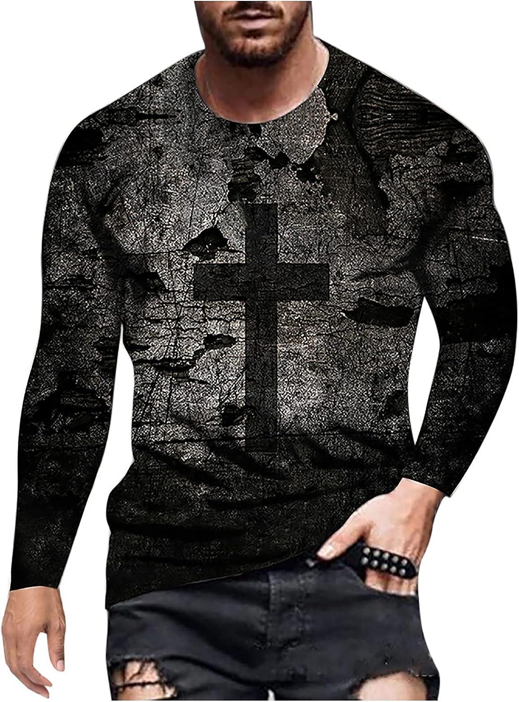 Men's Henley Shirts Long Sleeve Shirts Casual Slim Fit T-Shirt Crew Neck Cotton Performance Tops Retro Basic Blouse