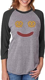 Oktoberfest Costume Food Face 3/4 Women Sleeve Baseball Jersey Shirt