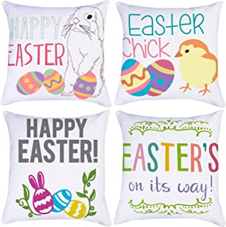 Happy Easter Throw Pillow Covers 16x16 Inch Set of 4,ZUEXT Double Sided Cotton Linen Polyester Easter Chick Colorful Bunny...