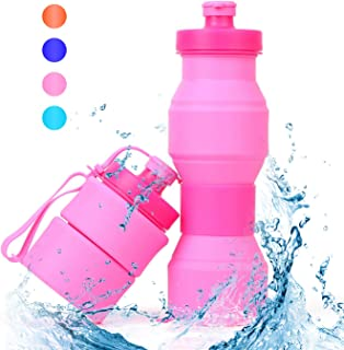 SWEET JASMINE Collapsible Sports Water Bottle 800ml, Leak-Proof Food-Grade Silicone Travel Drink Bottle for Gym and Outdoor Activities Like Hiking and Cycling, 27oz