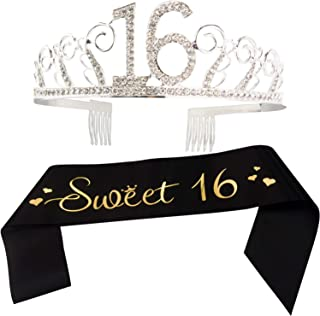 16th Birthday Sash and Tiara - Sweet 16 Gold Letter Satin Sash and Crystal Tiara Birthday Crown for 16th Birthday Party Supplies and Decorations (Sash+Tiara)/Black