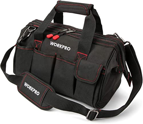 discount WORKPRO high quality 14-inch Tool outlet online sale Bag, Multi-pocket Tool Organizer with Adjustable Shoulder Strap, W081021A online