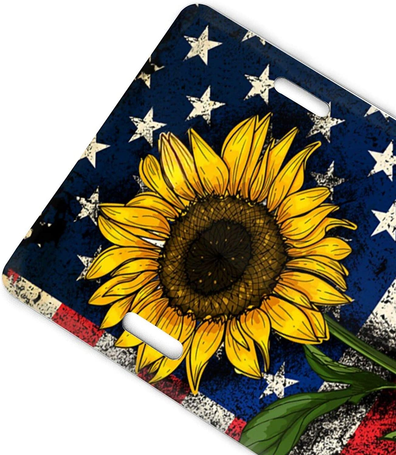 QNOQ Butterfly and Sunflower She is Sunshine Design Pattern Durable and Strong Aluminum Car License Plate 6inch X 12inch