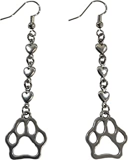I love my pet dog cat heart and paw print earrings