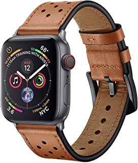 Ontube Bands Compatible with Apple Watch, Genuine Leather Strap Wristband for Apple Watch Series 5/4/3/2/1 (38MM/40MM, Brown)