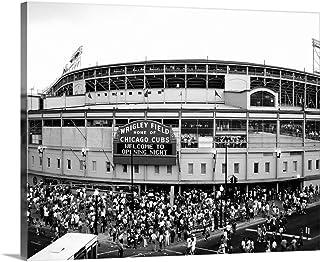 Tourists Outside a Baseball Stadium at Opening Night, Wrigley Field, Chicago Canvas Wall Art Prin.