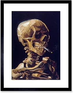 9x7 '' VINCENT VAN GOGH SKULL WITH A BURNING CIGARETTE FRAMED ART PRINT F97X1625