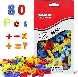 مغناطيس ثلاجة الحروف المغناطيسية بأرقام ملونة ABC 123 مجموعة ألعاب تعليمية مغناطيسية في صندوق التعلم في مرحلة ما قبل المدر...