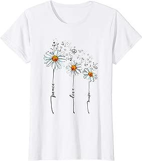 Peace Love Music Daisy Hippie Shirt Cute Music Lover Gifts T-Shirt