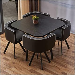 HLZY Mesa de Comedor Juego de Muebles Mesa de Comedor y Juego de sillas de Asiento 5 de Sala en Cuero Cocina Mesa Ocio 90cm de Madera Maciza Mesa Redonda Moderna La negociación de Negocios Cafetería