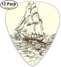 Newfood Ss Hand Drawn Sailboat Struggling In Ocean Wave Destination Historical Voyage Image Guitar Picks 12/Pack Set