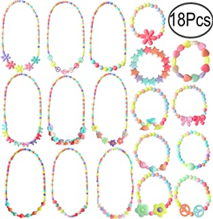 Hicdaw 18PCS Toddler Costume Jewelry Princess Necklace Bracelet Kit Gift for Girls Dress Up Pretend Play Party Favors