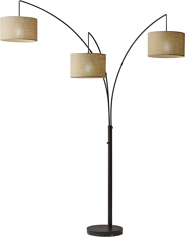 Adesso 4238-26 Trinity Arc Floor Lamp Antique Bronze Finish, Beige Burlap Lamp. Home Decor Lamps and Light Fixtures, 82