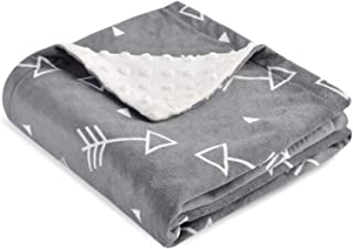 Boritar Baby Blanket Super Soft Minky with Double Layer Dotted Backing, Little Grey Arrows Printed 30x40 Inch
