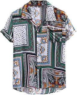 Mens Ethnic Printing Short Sleeve Shirts Casual Hawaiian Vintage Cotton Linen Loose Tops Blouse