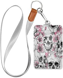HMZXZ Porte-badge d'identification vertical en cuir synthétique avec cordon détachable Motif tête de mort et fleurs Rose