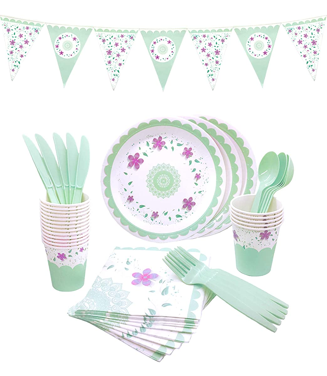 145 Piece Floral Party Supplies Set | Disposable Dinnerware Set | Services 24 - Includes Plastic Knives, Spoons, Forks, Paper Plates, Napkins, Cups, Banner | Perfect for Tea Party, Birthday, Wedding