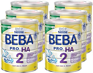 Nestlé雀巢 BEBA贝巴 PRO HA 2 婴幼儿奶粉 (6个月以上)含水解蛋白,欧米加3和6(Omega)脂肪酸 6罐(6 x 800克)(不含助溶剂,冲泡需用力摇,冲后有结晶非品质问题,请放心食用)
