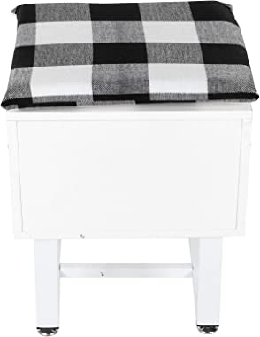 Vanity Stool, Modern Makeup Dressing Chair Cushioned Shoe Bench Wooden Piano Seat with Hidden Storage Compartment and Non-Sli