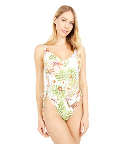 Roxy Printed Beach Classics One-Piece Swimsuit (Bright White Herbier) Women