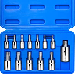 Neiko 10071A Torx Bit Socket Set, Metric, T8-T60 | 13-Piece Set, S2 and Cr-V Steel,..