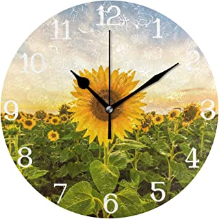 MOYYO Sunflower Field Wall Clock 9.8 Inch Silent Round Wall Clock Battery Operated Non Ticking Creative Decorative Clock for Kids Living Room Bedroom Office Kitchen Home Decor