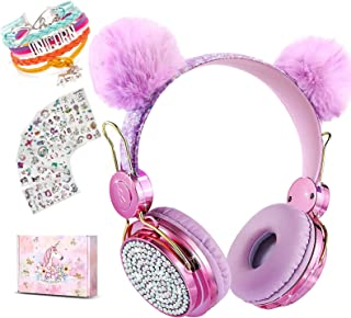 Unicornio - Auriculares inalámbricos para niños, orejas de gato Bluetooth 5.0 con micrófono para teléfono celular, iPad, portátil, PC, TV, PS4, Xbox One, auriculares estéreo plegables para juegos para niñas y adolescentes