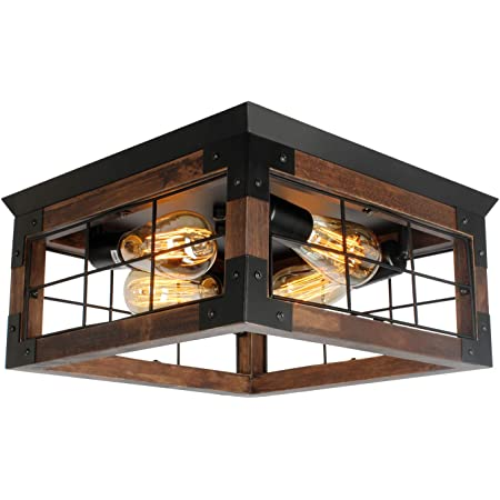 Jhlbyl Farmhouse Wood Flush Mount Ceiling Light Black Metal Rustic Close To Ceiling Lighting Industrial Square Wire Cage Ceiling Light Fixture With 4 E26 Blub Socket For Farmhouse Kitchen Dining Room