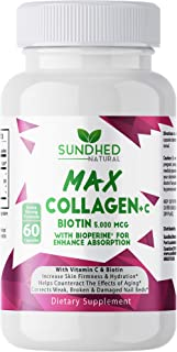 Sponsored Ad - Sundhed Natural Max Collagen Plus C (60 caps) - All Natural Collagen Capsules with Biotin & Bioperine to Bo...