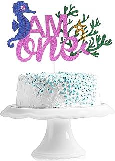 I AM ONE Birthday Cake Topper - Ocean Mermaid Girl's First Birthday - Smash Summer Pool Starfish Mermaid Tail Cake Décor -...