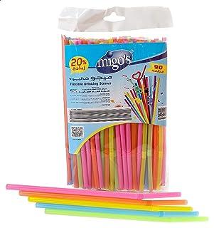Migo's Drinking Straws, 6 ml, 90 Pieces, Multi Color
