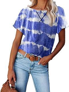 XYJD Lente en zomer dames casual pullover ronde hals tie-dye afdrukken losse korte mouwen T-shirt vrouwen