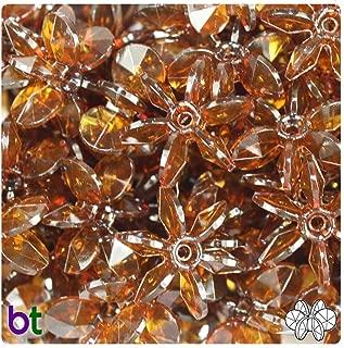 BeadTin Root Beer Transparent 25mm Sunburst Craft Beads (69pcs)