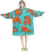 Deken Hoodie, Casual Zachte Microfiber Housecoat, Warm Nachthemd voor Mannen Vrouwen met Leuke Sea Octopus Kraken Squid De...
