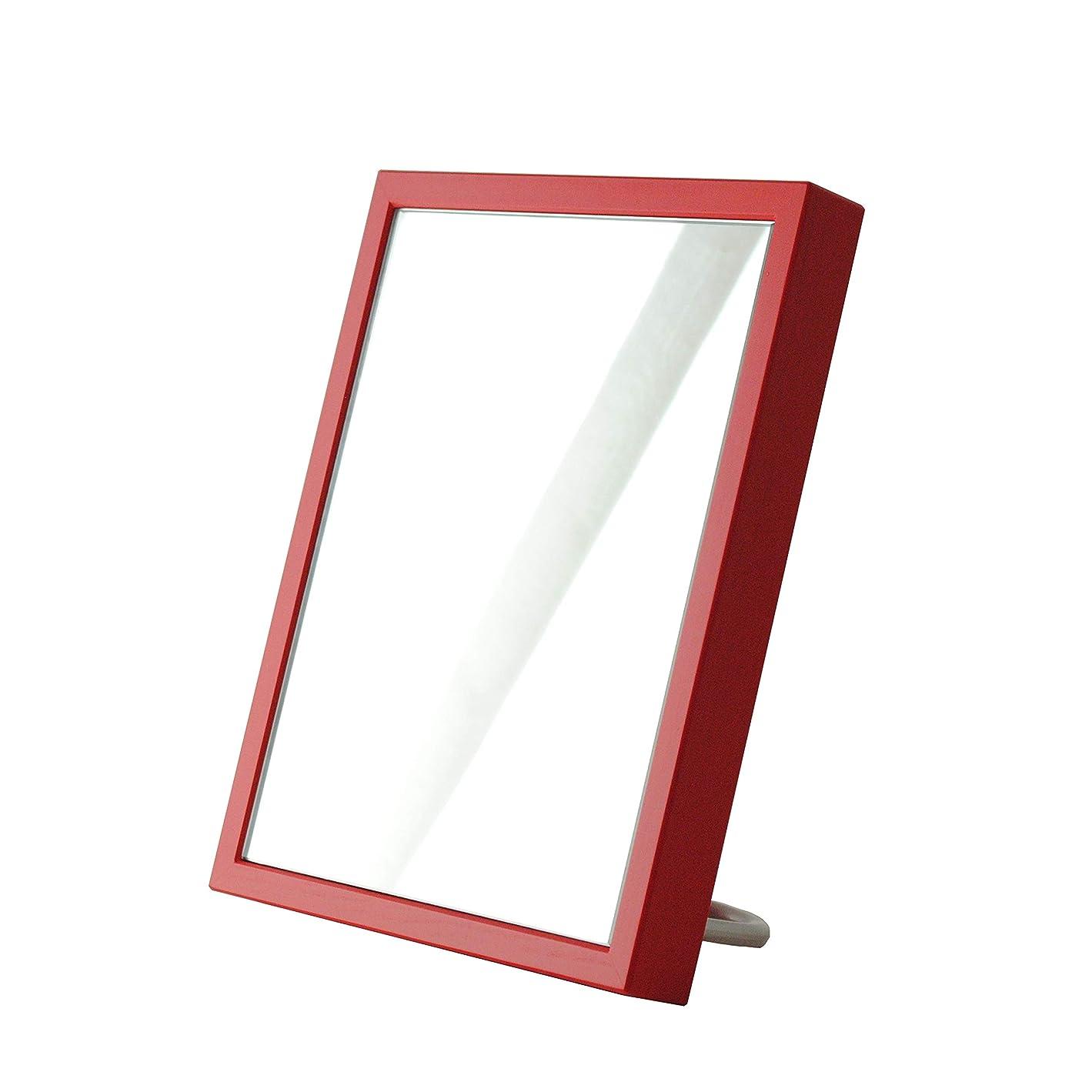 お肉成長分配しますSENNOKI 卓上 ミラー 16cm × 20cm 選べる10色 ギフト 壁掛け 木製 フレーム シンプル 鏡 日本製 赤 レッド