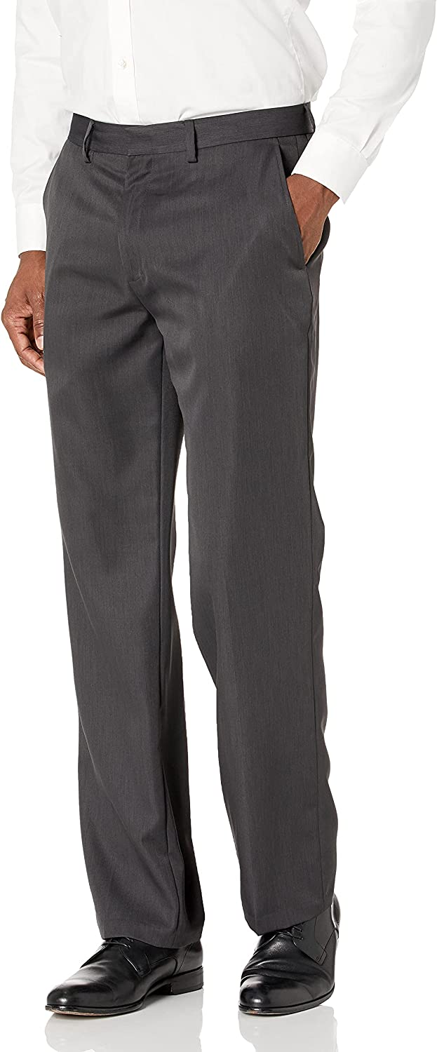 Haggar Men's Travel Performance Stria-Stripe Tailored-Fit Suit Separate Pant, Charocal, 34W x 32L