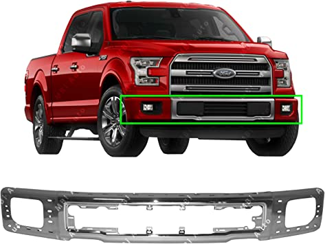Amazon Com Mbi Auto Chrome Steel Front Bumper Face Bar Shell For 2015 2016 2017 Ford F150 Pickup W Fog 15 16 17 Fo1002425 Automotive