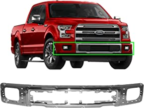 MBI AUTO - Chrome, Steel Front Bumper Face Bar Shell for 2015 2016 2017 Ford F150 Pickup W/Fog 15 16 17, FO1002425
