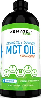 Natural Coconut MCT Oil - 32 OZ C8 & C10 Weight & Energy Supplement - Gluten Free Formula for Metabolism Support - Great f...