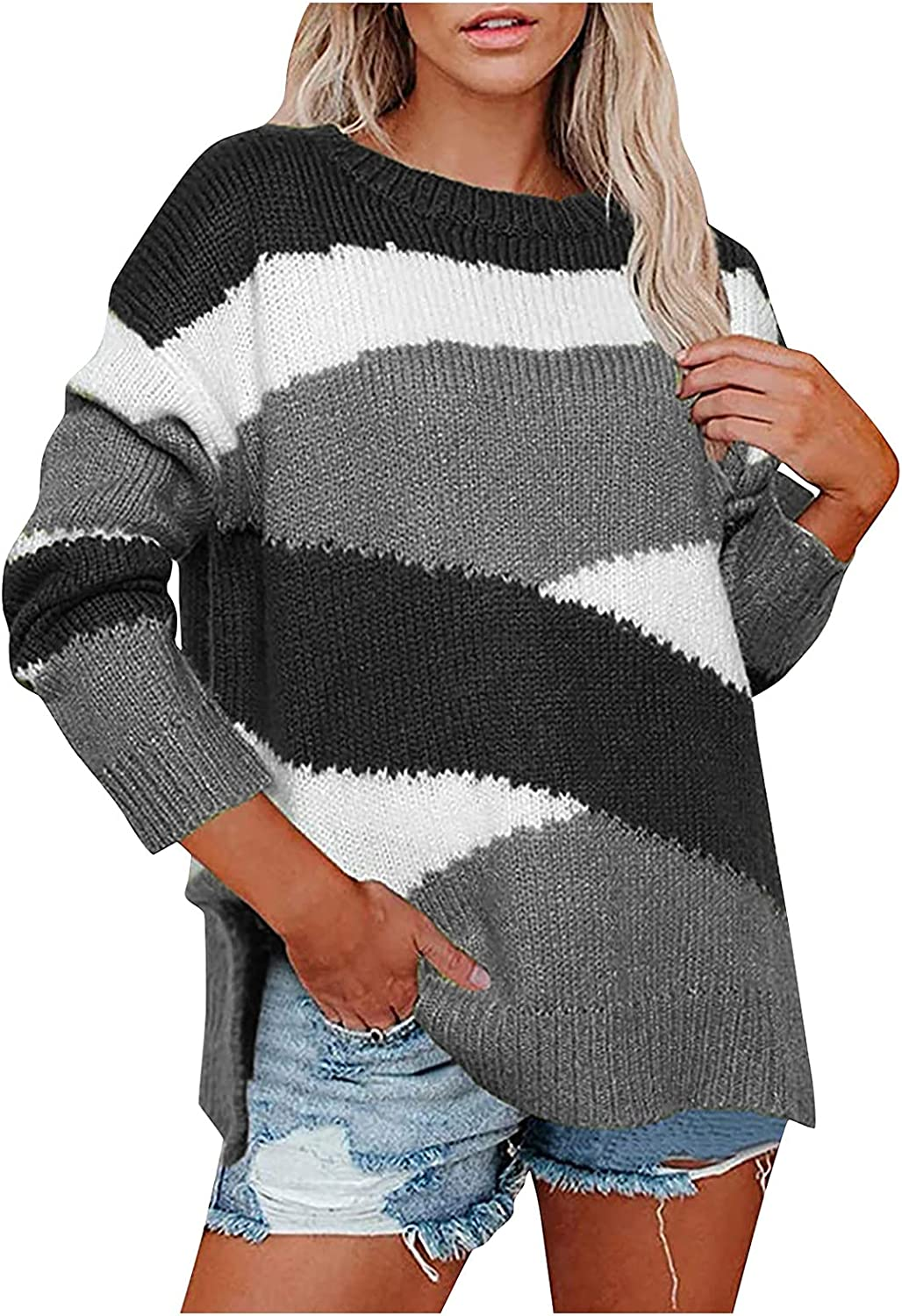 Women Sweaters Long Sleeve Crewneck Striped Color Block Pullover Sweater Casual Loose Ribbed Knit Jumper Tops