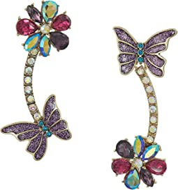 Butterfly and Flower Non-Matching Linear Earrings