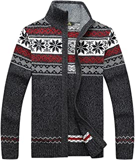 Kedera Casual Men's Thick Knitted Zipper Cardigan Sweater with Pattern