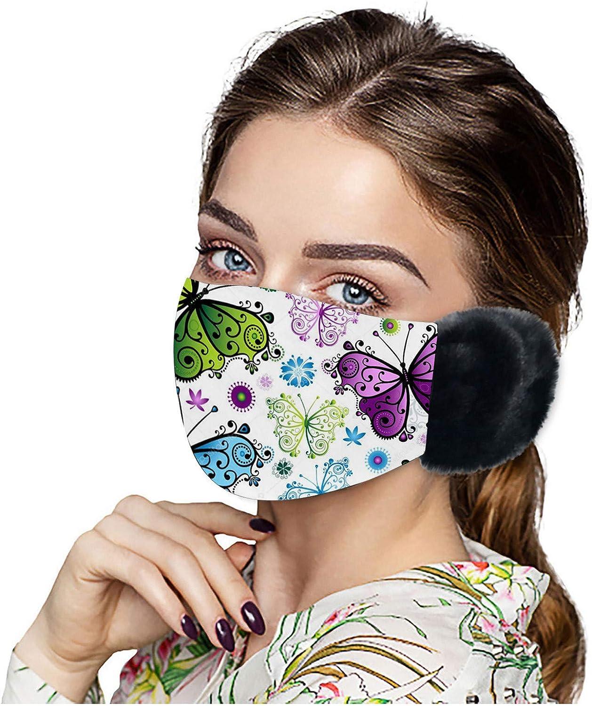 Nopeak Adult Winter Face Bandanas With Earmuffs,Women Butterfly Print Warm Mouth Caps,Washable Windproof Anti-Haze