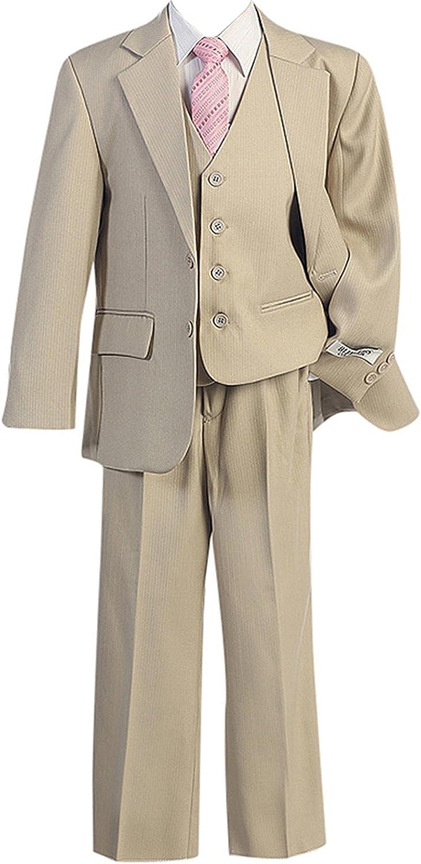 HBDesign Boy's 3 Piece 3 Button Notch Lapel Slim Trim Fit Formal Suit