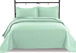 Luxe Bedding 3-piece Oversized Quilted Bedspread Coverlet Set (Full/Queen, Wava / Mint)