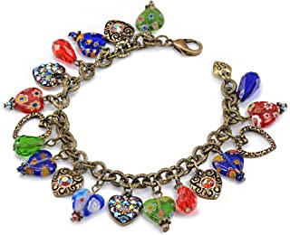 Sweet Romance Rainbow Millefiori Glass Murano and Crystal Hearts Adjustable Charm Bracelet