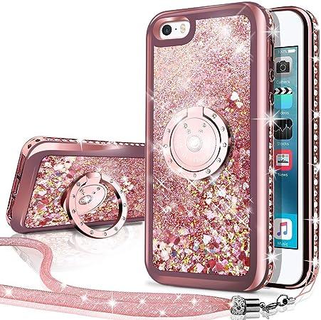 Miss Arts Custodia iPhone SE, Cover iPhone 5S/5, [Silverback] Custodia Glitter di in TPU con Supporto, Pendenza Colore Diamond Rhinestone Liquido ...