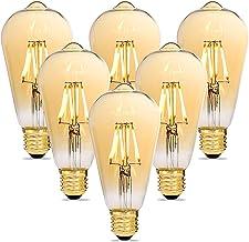 Alampia Edison Vintage Gloeilamp E27 ST64 Dimbare Ledlamp, 4 W, 2200 K, Warm Wit, Decoratieve Lamp, Retro Gloeilamp Verlic...
