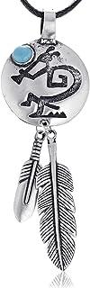 Namaste Jewelers Feather Kokopelli Flutist Pendant Necklace Pewter Jewelry